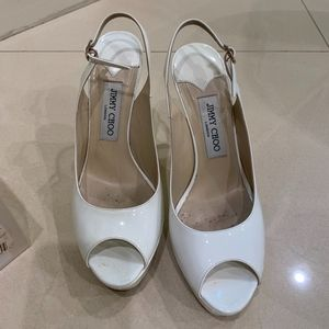 Jimmy Choo  Shaw Patent Leather, Size 38, White